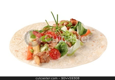 Wrap sandwich filling stock photo, Tortilla with ground meat and vegetable filing by Digifoodstock