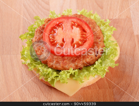 Cheeseburger  stock photo, Closeup of a Cheeseburger - ready to eat by Digifoodstock