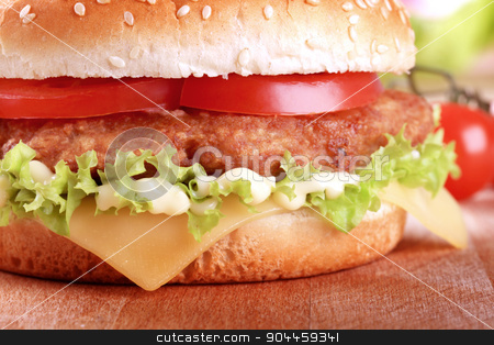 Cheeseburger  stock photo, Detail of a Cheeseburger - ready to eat by Digifoodstock