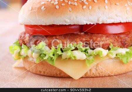 Cheeseburger stock photo, Fast food - Detail view of a cheeseburger by Digifoodstock