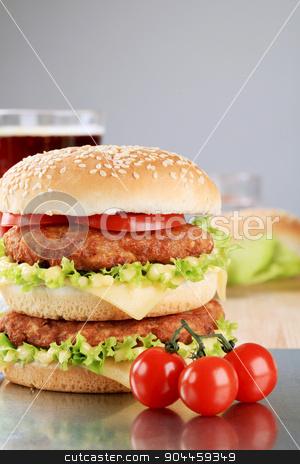 Double cheeseburger  stock photo, Appetizing double cheeseburger - ready to eat by Digifoodstock