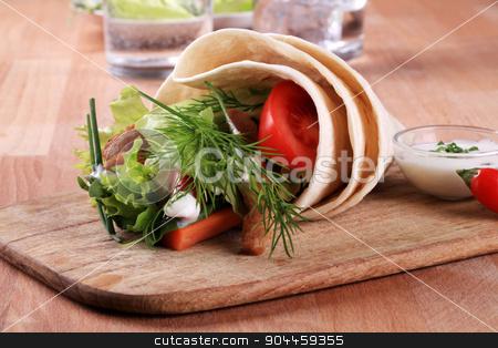 Vegetarian wrap sandwich stock photo, Vegetarian wrap sandwich with textured vegetable protein by Digifoodstock