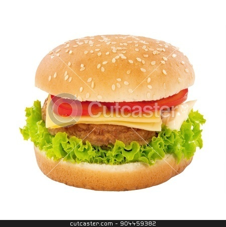 Cheeseburger stock photo, Single cheeseburger isolated on white  background by Digifoodstock