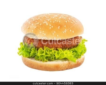 Hamburger stock photo, Single hamburger isolated on white background by Digifoodstock