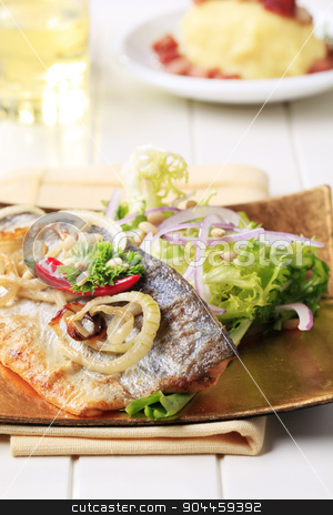 Pan-roasted trout and green salad stock photo, Pan-roasted trout fillet served with green salad by Digifoodstock