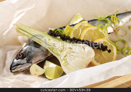 Fresh mackerel  stock photo, Fresh mackerel and other ingredients on paper by Digifoodstock
