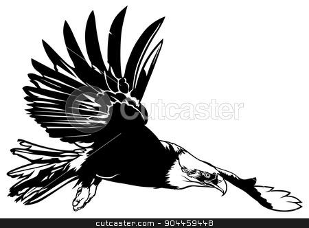 Flying Bald Eagle stock photo, Flying Bald Eagle - Black Outline Illustration by derocz