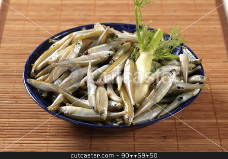 Fresh anchovies stock photo, Bowl of fresh anchovies by Digifoodstock