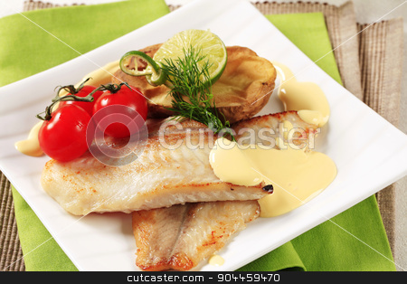 Pan fried fish fillets stock photo, Pan fried fish fillets and Hollandaise sauce by Digifoodstock