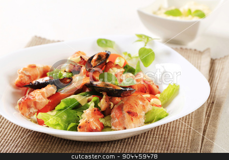 Seafood salad  stock photo, Salmon and mussel salad drizzled with Hollandaise sauce by Digifoodstock