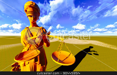Lady Justice stock photo, Lady Justice Sculpture of woman with sword and scale by Dariusz Miszkiel