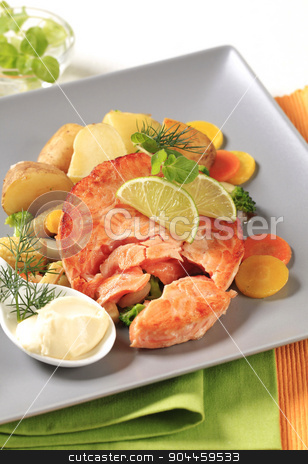 Seared salmon patty with vegetables stock photo, Pan fried salmon with potatoes and mixed vegetables by Digifoodstock