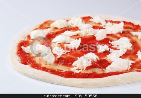 Preparing pizza stock photo, Tomato paste and mozzarella on raw pizza dough by Digifoodstock