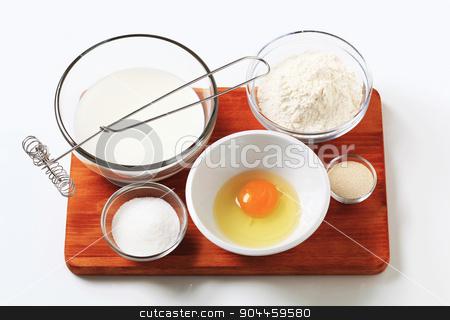 Ingredients to make pancakes stock photo, Ingredients to make homemade pancakes by Digifoodstock