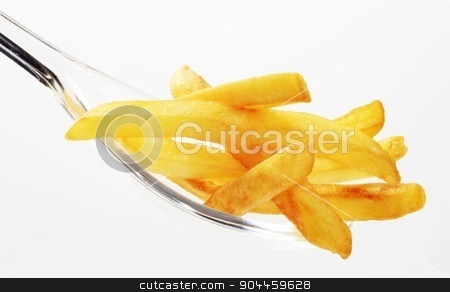 French fries stock photo, French fries on a plastic spoon - closeup by Digifoodstock