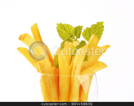 French fries  stock photo, French fries in a glass by Digifoodstock