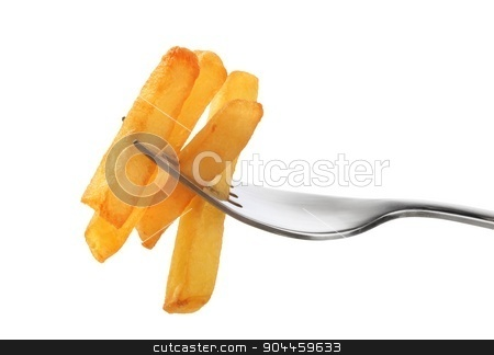 French fries on a fork  stock photo, French fries on a fork isolated on white by Digifoodstock