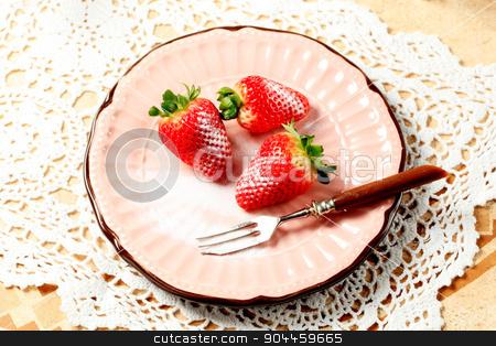 Fresh strawberries stock photo, Fresh strawberries with icing sugar by Digifoodstock