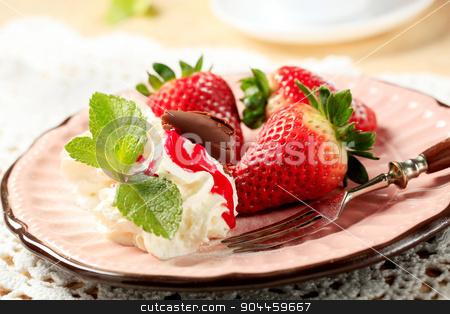 Strawberries with cream stock photo, Fresh strawberries with whipped cream by Digifoodstock