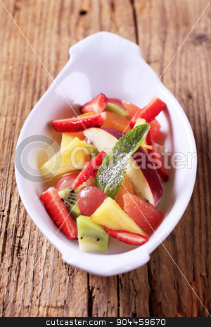 Fruit salad stock photo, Bowl of fresh mixed fruit salad - detail by Digifoodstock
