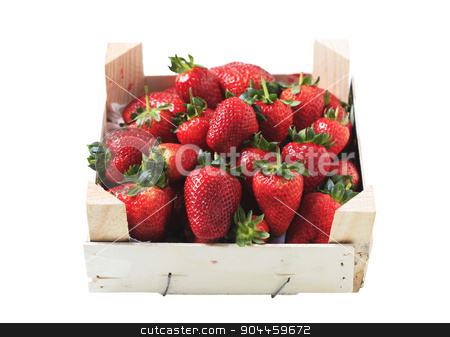 Fresh strawberries  stock photo, Fresh strawberries in a wooden crate by Digifoodstock