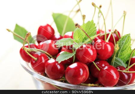 Red cherries stock photo, Bowl of freshly picked red cherries - detail by Digifoodstock