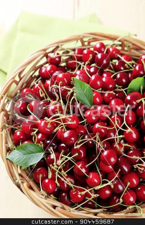 Fresh red cherries stock photo, Basket of freshly picked red cherries - overhead by Digifoodstock