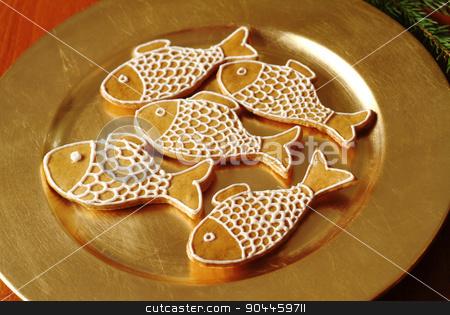 Christmas gingerbread cookies stock photo, Christmas gingerbread cookies on a golden plate  by Digifoodstock