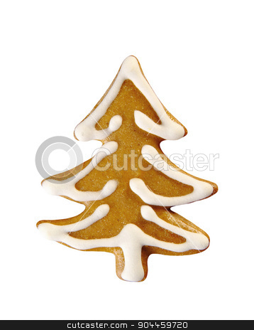 Gingerbread tree stock photo, Gingerbread tree decorated with sugar icing by Digifoodstock