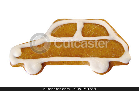 Gingerbread car stock photo, Gingerbread car decorated with sugar icing  by Digifoodstock