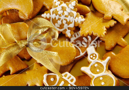 Christmas Gingerbread Cookies stock photo, Closeup of Christmas Gingerbread Cookies  by Digifoodstock