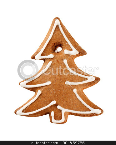 Gingerbread cookie stock photo, Gingerbread cookie in the shape of a tree by Digifoodstock