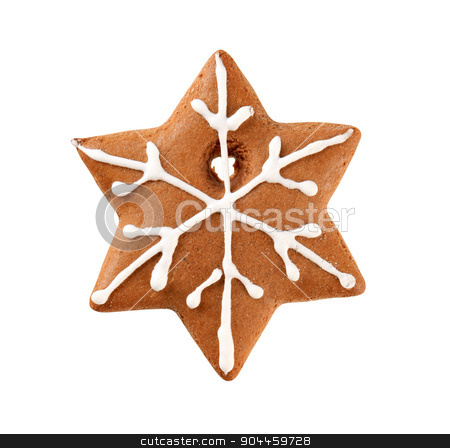 Gingerbread snowflake  stock photo, Gingerbread in the shape of a snowflake by Digifoodstock