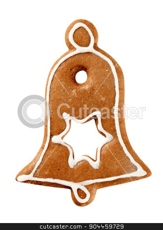Gingerbread cookie  stock photo, Gingerbread cookie in the shape of a bell by Digifoodstock