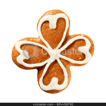 Gingerbread four leaf clover stock photo, Gingerbread cookie decorated with sugar icing - studio  by Digifoodstock