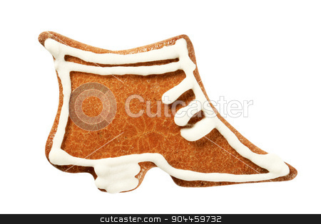 Gingerbread cookie stock photo, Gingerbread cookie in the shape of a shoe  by Digifoodstock