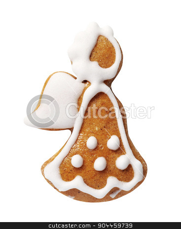 Gingerbread cookie stock photo, Gingerbread cookie in the shape of an angel                  by Digifoodstock