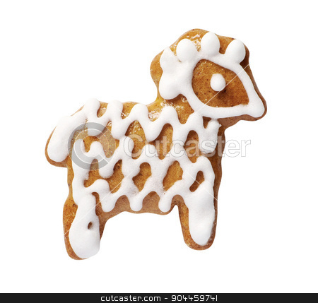 Gingerbread cookie stock photo, Gingerbread cookie in the shape of a ram by Digifoodstock