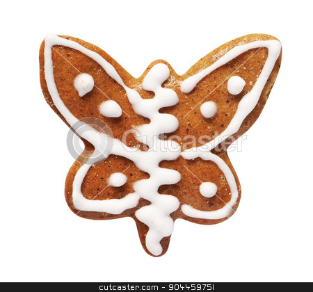 Gingerbread cookie stock photo, Gingerbread cookie in the shape of a butterfly  by Digifoodstock