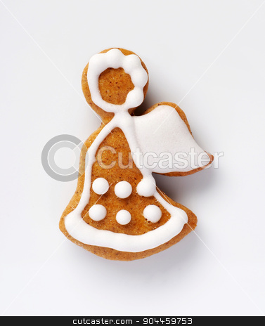 Gingerbread angel  stock photo, Gingerbread cookie in the shape of an angel by Digifoodstock