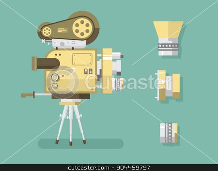 Retro camera stock vector clipart, Retro camera. Old technology, video and media industry, multimedia cinema, flat vector illustration by Dmitry Kalabin