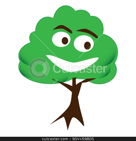 Happy Tree stock vector clipart, A cartoon style happy face tree over a white background by Kotto