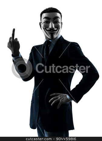man masked anonymous group  pointing finger silhouette portrait stock photo, PARIS– OCTOBER 30 : one man dressed and masked as a member of Anonymous underground group on October 30, 2012 in Paris ,France by Ishadow