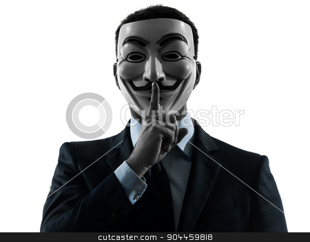 man masked anonymous group member hushing  silhouette portrait stock photo, PARIS– OCTOBER 30 : one man dressed and masked as a member of Anonymous underground group on October 30, 2012 in Paris ,France by Ishadow