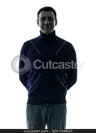 man smiling friendly  silhouette portrait stock photo, one  man smiling friendly portrait in silhouette studio isolated on white background by Ishadow
