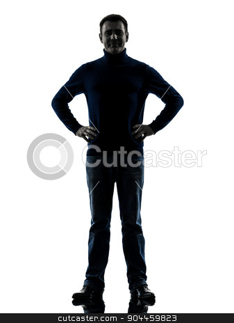 man smiling friendly  silhouette full length stock photo, one  man full length in silhouette studio isolated on white background by Ishadow