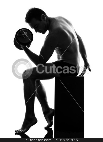 mature man exercising body building silhouette stock photo, one caucasian man exercising body building in silhouette on white background by Ishadow