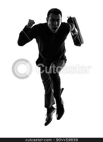 business man running silhouette stock photo, one caucasian business man running in silhouette on white background by Ishadow