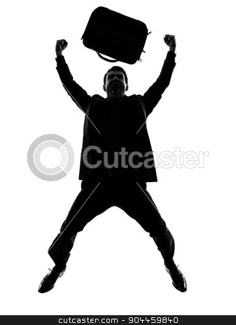 business man happy joyful jumping silhouette stock photo, one caucasian business man happy joyful jumping  in silhouette on white background by Ishadow