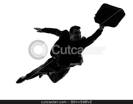 business super man flying silhouette stock photo, one caucasian business super man flying in silhouette on white background by Ishadow
